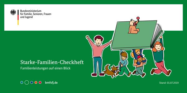 Eine Familie vor grünem Hintergrund und dem Titel Starke-Familie-Checkheft