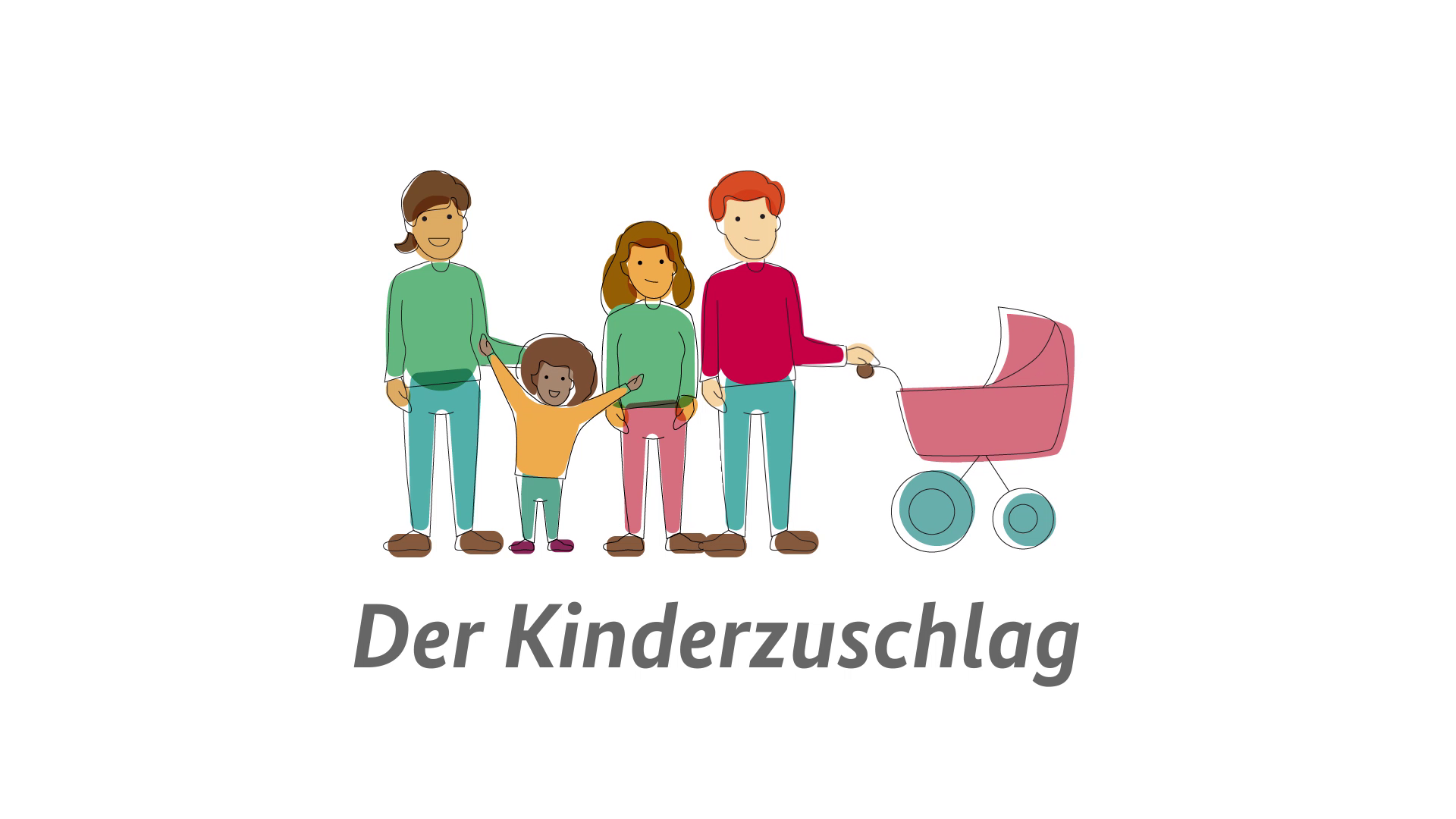 Illustration einer Familie mit Kinderwagen
