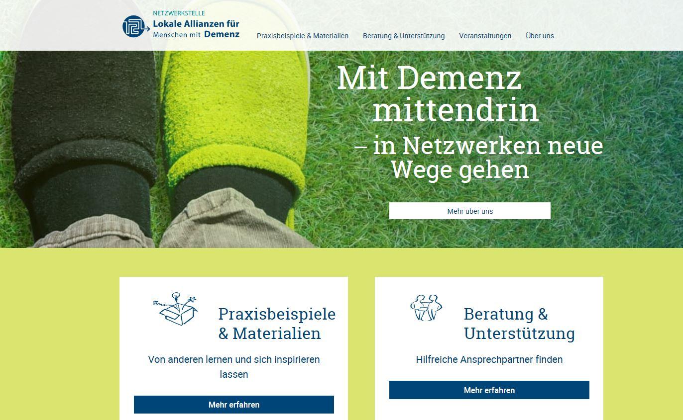 Screenshot von der Startseite der Netzwerkstelle Lokale Allianzen für Menschen mit Demenz